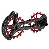 Walory Poleas de Cambio Trasero de Bicicleta - 16T Bicycle Bike Rodamiento de Cerámica Juego de Ruedas Polea de Carbono Fibra de Carbono CNC Desviadores Traseros Guía para Shimano 6800/6870/4600/900