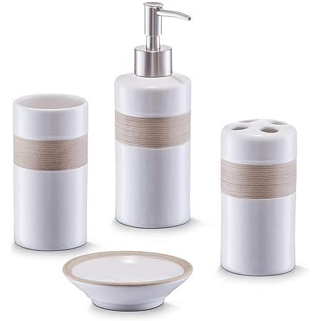 Zeller 18260 - Juego de accesorios para baño, 4 piezas, color beige y marrón
