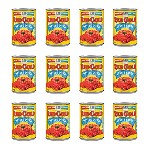 Red Gold Petite Diced Tomatoes, No Salt Added, Kosher and Gluten Free, 14.5 Ounce Cans, 12-Pack