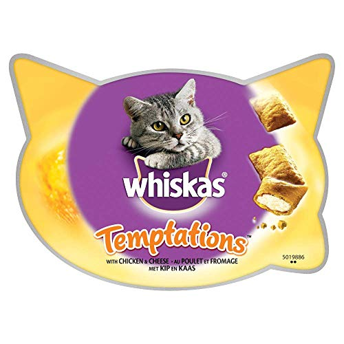 Whiskas Temptations, Double Textured Cat Treats with Chicken and Cheese, 8...