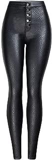 LUKEEXIN Women's High Rise Pu Leather Button Skinny Leggings Pants