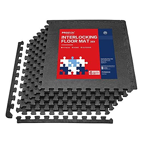 PROIRON Esterilla Puzzle de Fitness Alfombra EVA Espuma para Máquinas de Deporte y Gimnasios 60 x 60 x 1.2 cm (6 piezas)