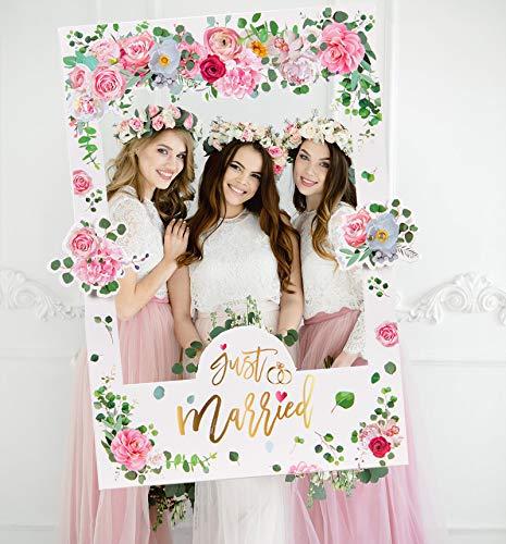 JoyTplay Wedding Photo Booth Cornice Giorno delle Nozze Immagine Selfie Frame Anniversary per Floral Team Sposa Matrimonio Bridal Shower