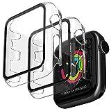Jvchengxi Funda Compatible con Apple Watch 38mm Series 3/2/1, [2 Piezas] Claro Lustroso HD Vidrio Templado Carcasa Protector de Pantalla Ultradelgada Cubierta Protectora para iWatch Series 3/2/1