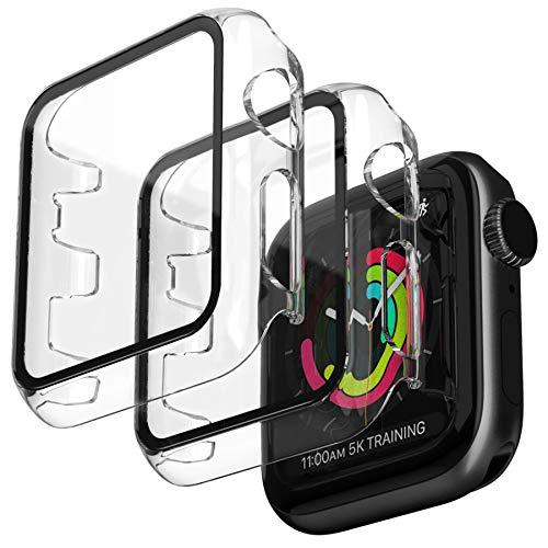 Jvchengxi 2 Pezzi Trasparente Cover Apple Watch 38mm Series 3 2 1 con Protezione Schermo, Copertura Completa Custodia Rigida con Pellicola Protettiva Vetro Temperato HD per iWatch 38mm