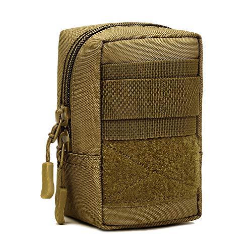 Huntvp Kleine MOLLE Tasche Taktische Handytasche Wasserdicht Erste-Hilfe-Tasche Beutel GürteltascheNotfalltasche Werkzeugtasche für Gürtel WesteRucksack Outdoor Wandern Camping - Braun