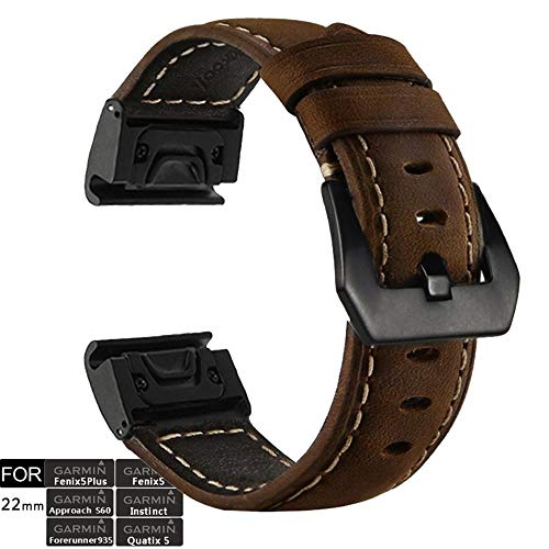 YOOSIDE für Garmin Fenix 5 Plus/Fenix 6 Armband, 22mm Quick Fit Edelstahl + Echtleder Leder Ersatzarmband Uhrenarmband für Garmin Fenix 5/5 Plus/Quatix 5/Forerunner 935 /Instinct/Approach S60,Braun