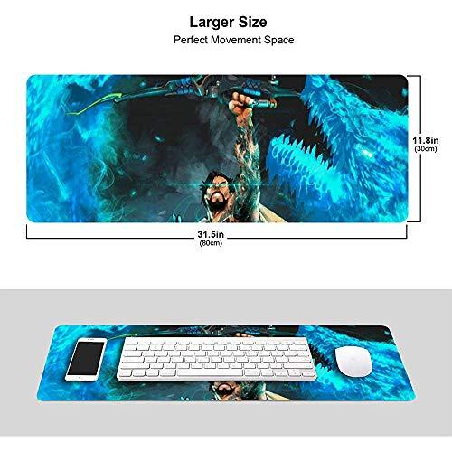 Overwatchs Extended Gaming Mouse Pad Hanzo-Dragonstrike 31,5 x 11,8 Zoll mit genähten Kanten, hochwertig strukturiertes Tuch mit Rutschfester Gummibasis