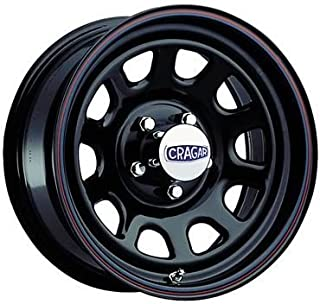 Cragar 3425180: Wheel, D Window, Steel, Black, 15 in. x 10 in., 8 x 6.5 in. Bolt Circle, 4 in. Backspace, Each