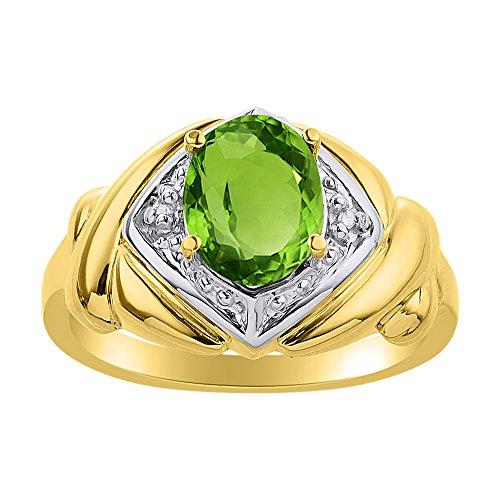 Juego de anillos de diamante y peridoto en plata chapada en oro amarillo – XO Hugs & Kisses – Anillo de piedra de nacimiento de color