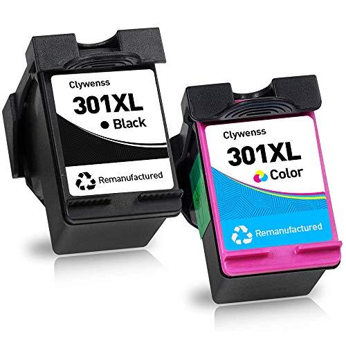 Clywenss Remanufactured 301 XL 301XL - Cartuchos de tinta para HP Envy 4500 4504 5530 Officejet 2620 4630 Deskjet 1000 3000 1050 1050A 1510 2510 540 3. 050A (1 negro, 1 color).