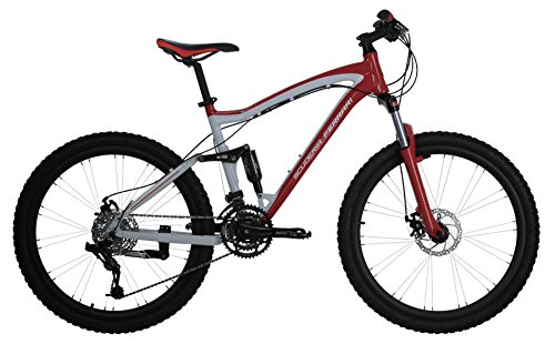 Ferrari Alloy MTB Series 24-Speed Linkage Dual Suspension Mountain Bicycle Bike (Red/White).