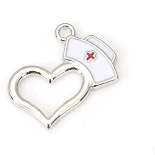 Nurse Cap Pendant Charms, 10 Pack Enamel and Heart, 3/4 x 5/8 Inch (Silver Tone)