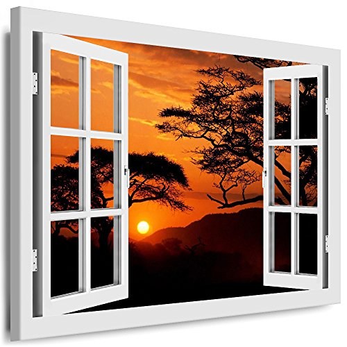 BOIKAL XXL02-5 Fensterblick Leinwand bild 3D Illusion - Fertig Gerahmte Bilder kein Poster - Wandbild 100 x 80 cm Weiß - Farbe Große 21 Variante wählbar - Fenster Kunstdruck Landschaft Baum, Wald Sonne, Himmel
