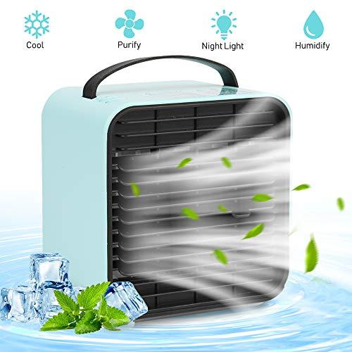 Vivibel Mini Persönliche Klimaanlage, Mobile Klimageräte, 4 in 1 USB Luftkühler, Ventilator, Luftbefeuchter, Lufterfrischer mit 3 Geschwindigkeiten LED für Schlafzimmer Wohnzimmer Büro Reise