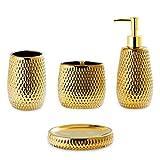 Gold Bathroom Accessory Set 4 Piece Ceramic Bath Accessories Sets Complete, Rain- Drop Shaped Bathroom Essential with Toothbrush Holder & Dish, Tumbler,Soap Dispenser Set for Bath Decor