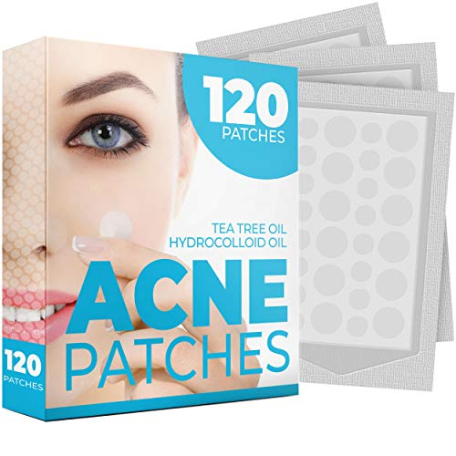 Acne Patches (120 Pack) - Tea Tree Oil and Hydrocolloid Acne Patches for Face (3 Sizes), Pimple Patch, Zit Patches, Acne Dots, Pimple Stickers, Natural Blemish and Acne Spot Dots