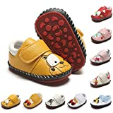 ENERCAKE Baby Girls Boys Shoes Pu Leather Non Slip Hard Bottom Walking Sneakers Infant Toddler First Walkers Cartoon Slippers Crib Shoes(6-12 Months Infant, G-Yellow Dog)