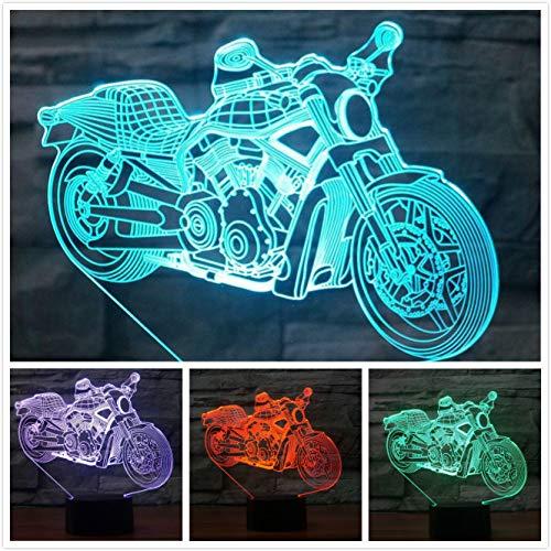 Lámpara de ilusión óptica 3D para motocicleta, 7 colores, interruptor táctil, ilusión, luz nocturna, para dormitorio, hogar, decoración, boda, cumpleaños, Navidad, regalo de San Valentín