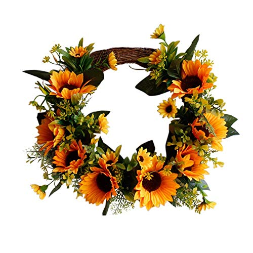 ZJHCC 12.5 inch Artificial Sunflower Wreath Flower Wreath with Yellow Sunflower and Green Leaves for Front Door Wedding Home DecorationThanksgiving Wedding Decor