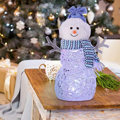 Muñecos de Nieve Navidad Figuras Navideñas Acrílico de 20CM con Luces LED que Cambian de Color para la...