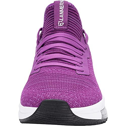 LARNMERN PLUS Zapatillas de Deporte Mujer Ligero Transpirable Air Zapatos para Correr Antideslizantes Amortiguación Comodos Caminar Zapatos Gimnasio Running Trabajar(Morado,39)