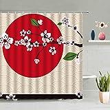 DJIHGELA DuschvorhangFuji Mountain Cherry Blossoms Duschvorhang Japan Flower Plant Scenery Badezimmer Screen Decor wasserdichte Wandbehänge