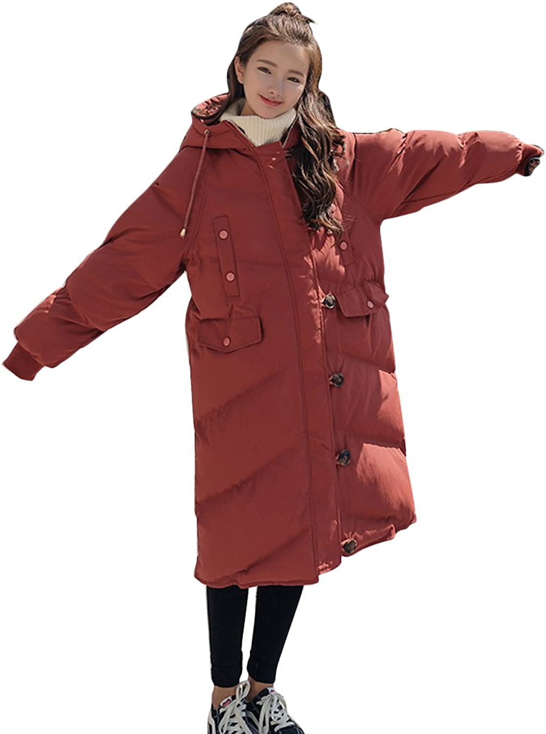 TSINYG Women's Loose Thicken Hooded Student Big Pocket Midlength Coats ( color   Rusty red , Size   S )