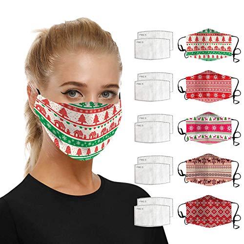 SHUANGA Weihnachten Frauen Mann Baumwolle Masken Verschmutzung Gesichtsmasken wiederverwendbarMultifunktionstuch Winddicht Atmungsaktiv Mundschutz Halstuch Schön Atmungsaktiv Sommerschal