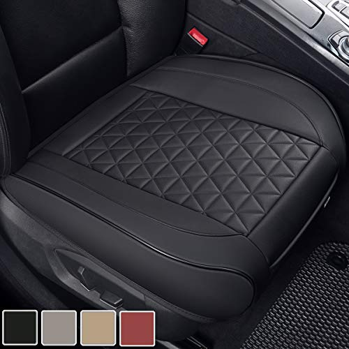 Black Panther Luxury PU Leather Car Seat Cover Protector for Front Seat Bottom, Compatible with 90% Vehicles (Sedan SUV Truck Mini Van) - 1 Piece, Black (21.26 × 20.86 Inches)