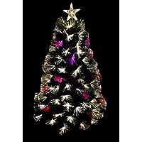 Christmas Concepts® 48 Pulgadas (4 Pies) Verde Fuegos Artificiales Fibra Óptica Árbol de Navidad con LED Blanco Caliente + Cambio de Color LED
