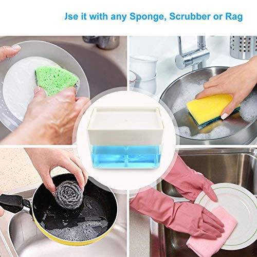 Albayrak Soap Dispenser for Kitchen + Sponge Holder - U.S. Design Patent - Premium Quality Dish Soap Dispenser - Counter Top Sink Dispenser - Instant Refill, Durable, Rustproof