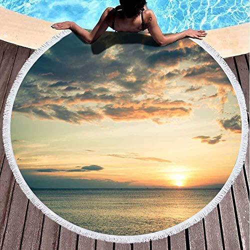 YURONG Toallas de Playa para niñas, Toalla de Playa de Secado rápido Toallas de Playa Suaves Sunset The Beach Cloudy Sky Toalla de Playa Redonda de Microfibra de 60 x 60 Pulgadas