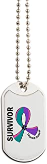CafePress - Thyroid Cancer Survivor 12 - Military Style Dog Tag, Stainless Steel with Chain