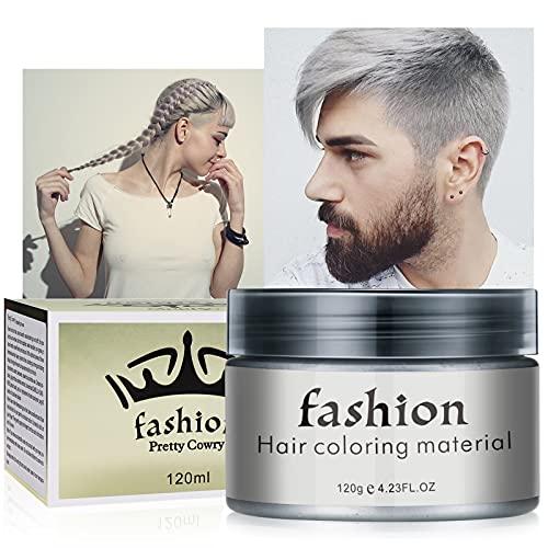 Haarfarbe Wachs Bartfarbe, Temporäre Frisuren Creme, Haarwachs Unisex DIY Haarformung Cream Natürliche Matte Frisur für Party Cosplay, Halloween (Blau) (Grau)