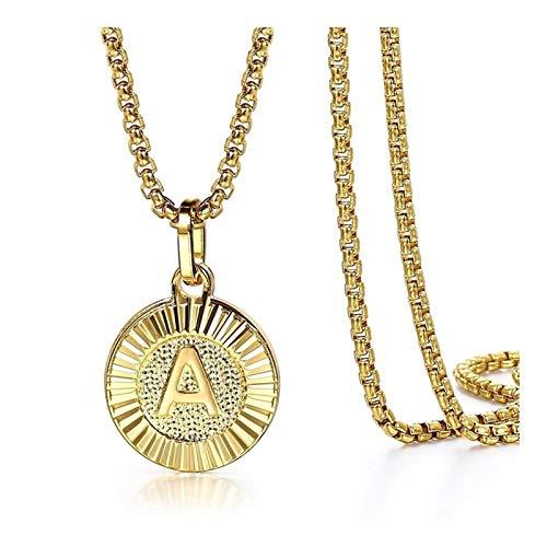 Colgante letra inicial Collares Ronda encanto de acero inoxidable caja de cadena de acoplamiento de las mujeres de los hombres de joyería de regalos ( Length : With chain 18inch , Metal Color : K )