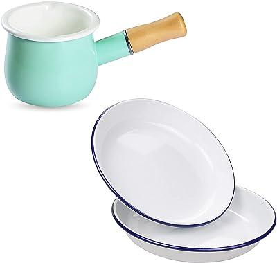 Webake Enamel Cookware, Farmhouse Cookware Set, Mint Green Mini Sauce Pan and 9.5 Inch White Plates