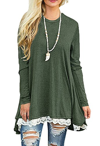 Afibi Women Lace Long Sleeve A-line Swing T-Shirt Loose Tunic Top Blouse (Medium,Army Green)