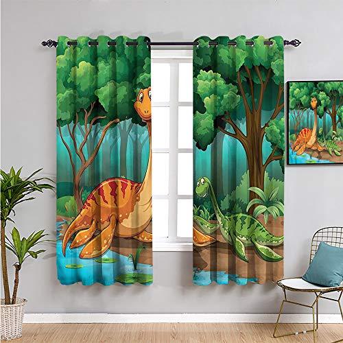 Dinosaur Farmhouse Curtain, Curtains 84 inch Length Ancient Animals Forest Cafe Curtain W52 x L84 Inch