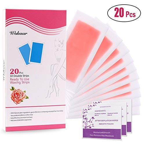 Wokaar Wax Strips Hair Removal Painless Waxing Kit for Women 20 PCS(10 Double Side) Rose Fragrance Waxing for Legs, Arms, Underarms and Bikini,7.2X3.5 inch Each