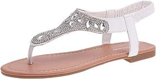 Dasongff Zomerschoenen, strass, T-strap, damesschoenen, flip flops, sandaletten voor vrouwen, vlakke open vrijetijdsschoen...