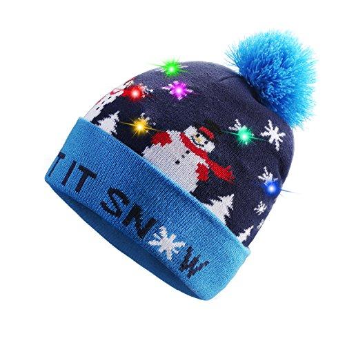 TAGVO LED leuchten Hut Mütze Stricken, 6 Bunte LED Xmas Weihnachten Hut Mütze, Winter Schnee Hut Pullover hässliche Urlaub Hut Beanie Cap