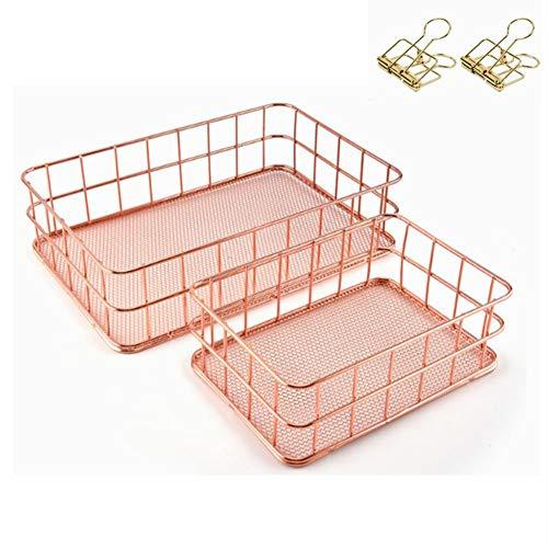 GUOXIANG Portalápices de metal hueco, redondo, hueco, para escritorio, organizador, brochas, maquillaje, 2 unidades, oro rosa