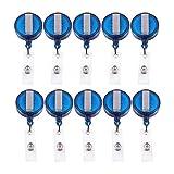 Timagebreze 10 Bobina RetráCtil Insignia de IdentificacióN de Retroceso CordóN Nombre Etiqueta Titular de la Tarjeta Clave Clip de CinturóN Color: Azul Cantidad: 10 Piezas