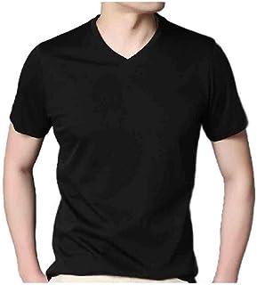 MogogNMen Stretch Short-Sleeve Pure Color V-Neck Casual Loose Tee Shirt