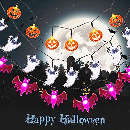 LED Halloween Lichterkette, BrizLabs 3 Stück 20 LED Orange Kürbis, Lila Fledermaus, Weiße Geist Innen Dekoration Beleuchtung Batteriebetriebene Lichter für Weihnachten Außen Outdoor Party Fest