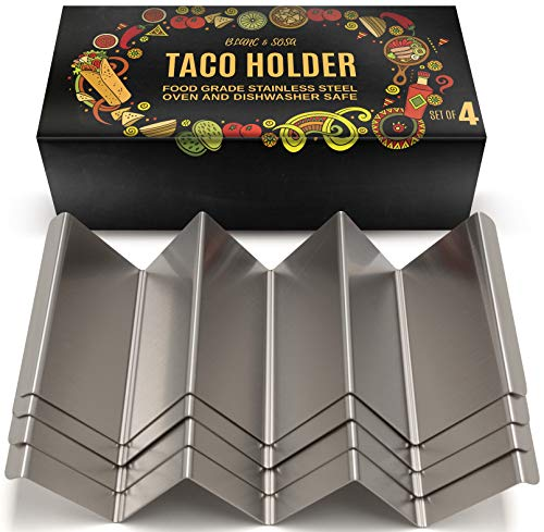 B&S Taco Holders Stainless Steel Set of 4 - Taco Stand Rack Holds Up To 3 Tacos Each - Oven, Grill, Dishwasher Safe - 4 x 8 Inch