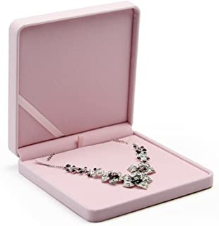 Oirlv Pink Velvet Big Necklace/Pearl Necklace/Chunky Necklace Gift Box Jewelry Storage Case
