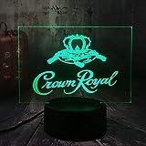 Lámpara de ilusión 3D, logotipo de Crown Royal Whisky Wine Lámpara LED 3D, decoración de mesa de noche de escritorio, oficina en casa Año Nuevo Navidad Navidad regalo