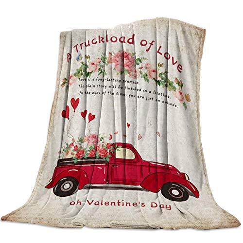 Hirkeld Superweiche gemütliche Bett Fleece Decke werfen glücklichen Valentinstag eine LKW-Ladung Liebe Rose Luftballons Vintage alte Zeitung Fuzzy Plüsch Couch Decken Mikrofaser Komfort und warm